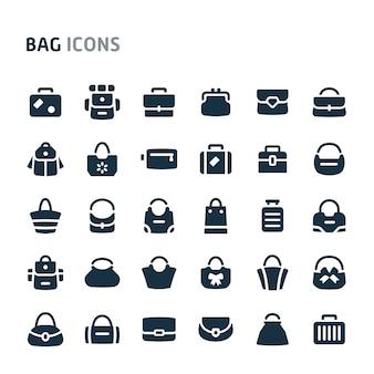 Conjunto de ícones de malas. série de ícone preto fillio.