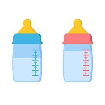 Conjunto de ícones de mamadeiras escalonáveis de plástico ou vidro com leite ou água.
