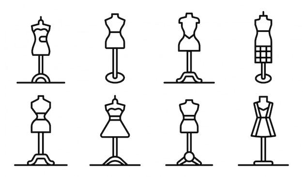 Conjunto de ícones de manequim, estilo de estrutura de tópicos