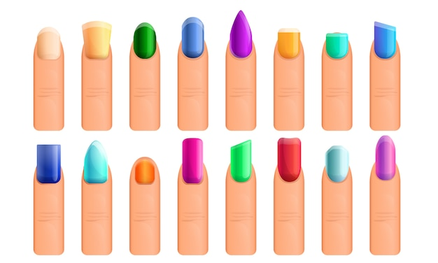Conjunto de ícones de manicure de unha, estilo cartoon