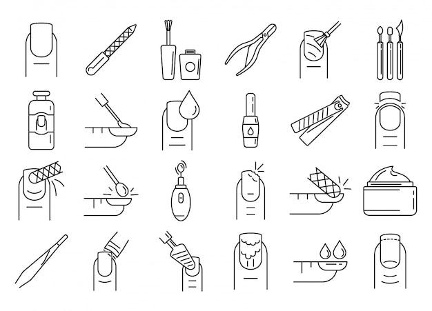 Conjunto de ícones de manicure de unha, estilo de estrutura de tópicos