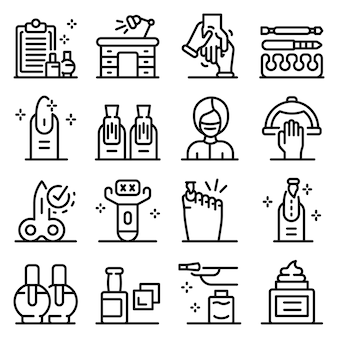 Conjunto de ícones de manicure, estilo de estrutura de tópicos