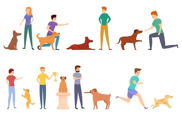 Conjunto de ícones de manipulador de cachorro, estilo cartoon