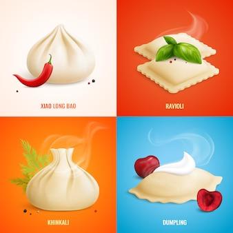 Conjunto de ícones de manti de ravioli de bolinhos de massa de quatro quadrados com ilustração de descrições de bolinho de massa de xiao long bao ravioli khinkali