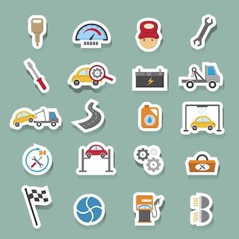 Conjunto de ícones de manutenção de serviço de carro