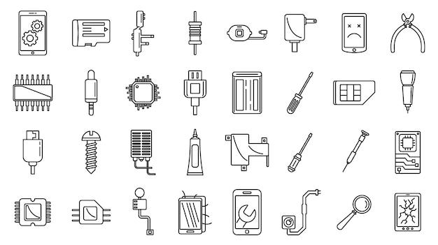 Conjunto de ícones de manutenção do telefone móvel