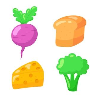 Conjunto de ícones de mão desenhada dos desenhos animados de comida.