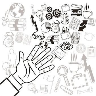 Conjunto de ícones de mão e fundo humanos