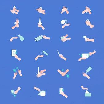 Conjunto de ícones de mão para prevenção e proteção contra coronavírus