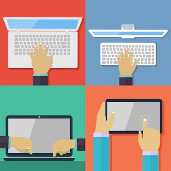 Conjunto de ícones de mão plana segurando vários computadores de alta tecnologia e dispositivos de comunicação. tablet digital e laptop usando a mão tocando o símbolo da tela