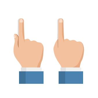Conjunto de ícones de mão, toque no dedo da tela