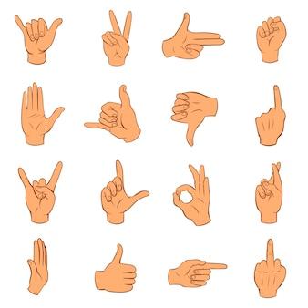 Conjunto de ícones de mão