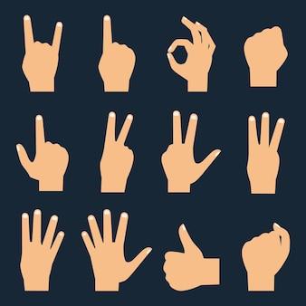 Conjunto de ícones de mãos: contagem de dedos, punho, chifres do diabo,