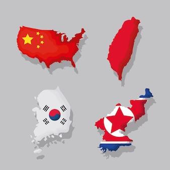 Conjunto de ícones de mapas e bandeiras asiáticos
