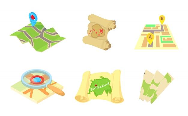 Conjunto de ícones de mapas