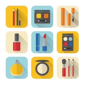 Conjunto de ícones de maquiagem e cosméticos de estilo simples