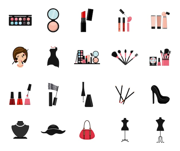 Conjunto de ícones de maquiagem isolado