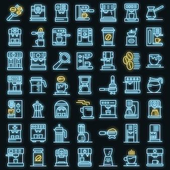 Conjunto de ícones de máquina de café. conjunto de contorno de ícones de vetor de máquina de café, cor de néon no preto
