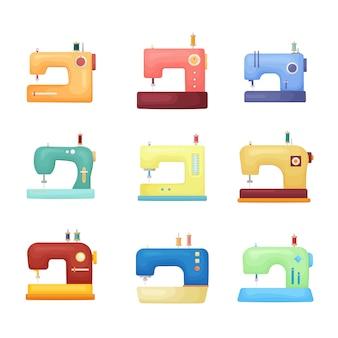 Conjunto de ícones de máquina de costura colorida de qualidade isolado no fundo branco