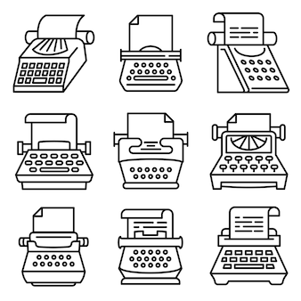 Conjunto de ícones de máquina de escrever, estilo de estrutura de tópicos
