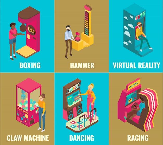 Conjunto de ícones de máquina de jogo de arcade de diversões isométrico de boxe