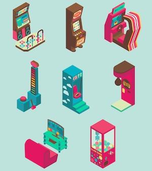 Conjunto de ícones de máquina de jogo de arcade