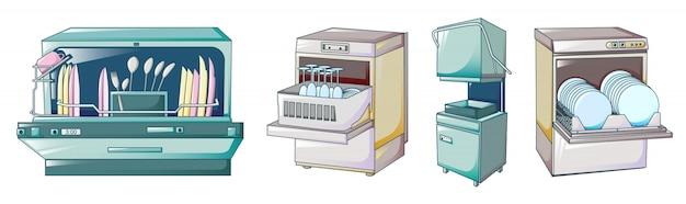 Conjunto de ícones de máquina de lavar louça, estilo cartoon