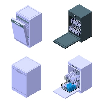 Conjunto de ícones de máquina de lavar louça, estilo isométrico