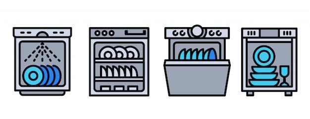 Conjunto de ícones de máquina de lavar louça