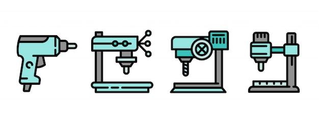 Conjunto de ícones de máquina de perfuração, estilo de estrutura de tópicos