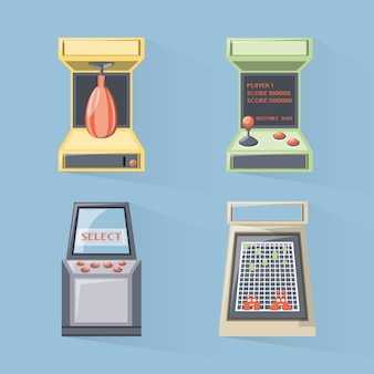 Conjunto de ícones de máquina de videogame de arcade