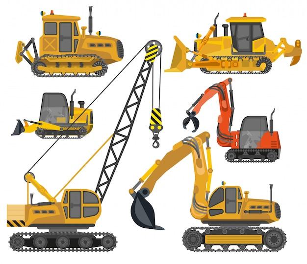 Conjunto de ícones de maquinaria de construção