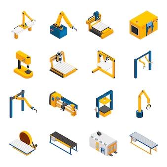 Conjunto de ícones de maquinaria robótica