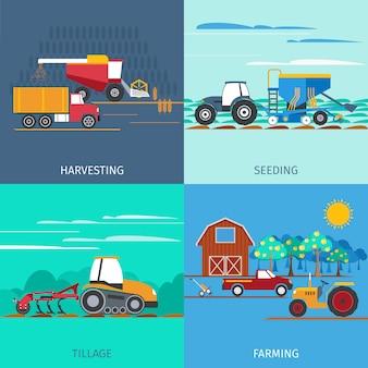 Conjunto de ícones de máquinas agrícolas