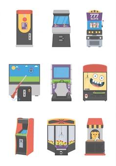 Conjunto de ícones de máquinas caça-níqueis