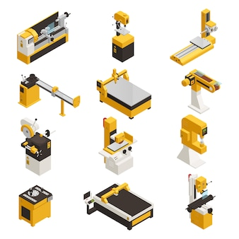 Conjunto de ícones de máquinas industriais com tecnologia símbolos isométrico isolado
