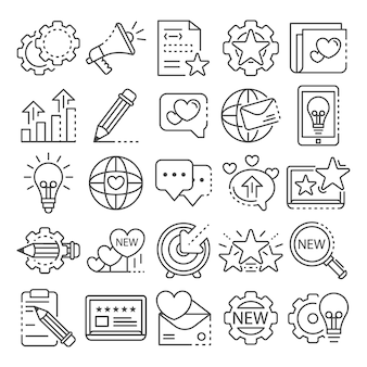 Conjunto de ícones de marca. conjunto de contorno de ícones do vetor de marca