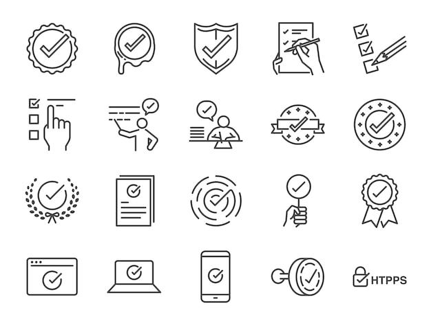 Conjunto de ícones de marca de seleção