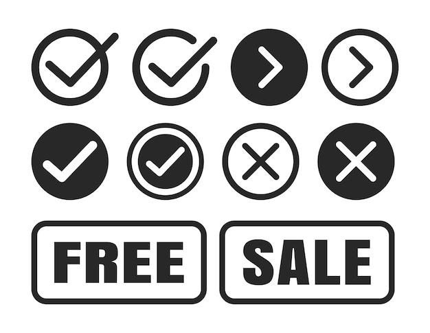 Conjunto de ícones de marca de seleção.