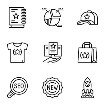 Conjunto de ícones de marca, estilo de estrutura de tópicos
