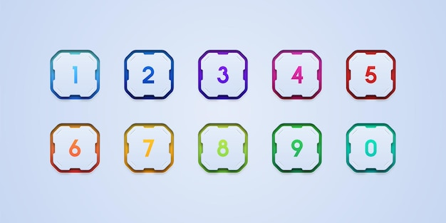 Conjunto de ícones de marcadores numéricos