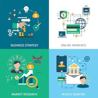 Conjunto de ícones de marketing bancário