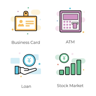 Conjunto de ícones de marketing de negócios