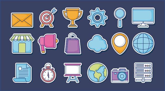 Conjunto de ícones de marketing digital