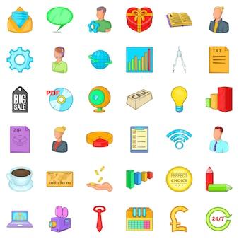 Conjunto de ícones de marketing na internet, estilo cartoon