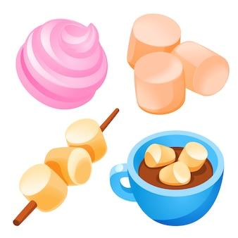 Conjunto de ícones de marshmallow, estilo cartoon