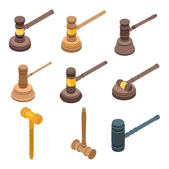 Conjunto de ícones de martelo de juiz, estilo isométrico