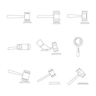 Conjunto de ícones de martelo de juiz