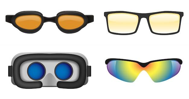 Conjunto de ícones de máscara de vidro de óculos de esqui
