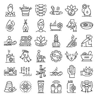 Conjunto de ícones de massagem, estilo de estrutura de tópicos